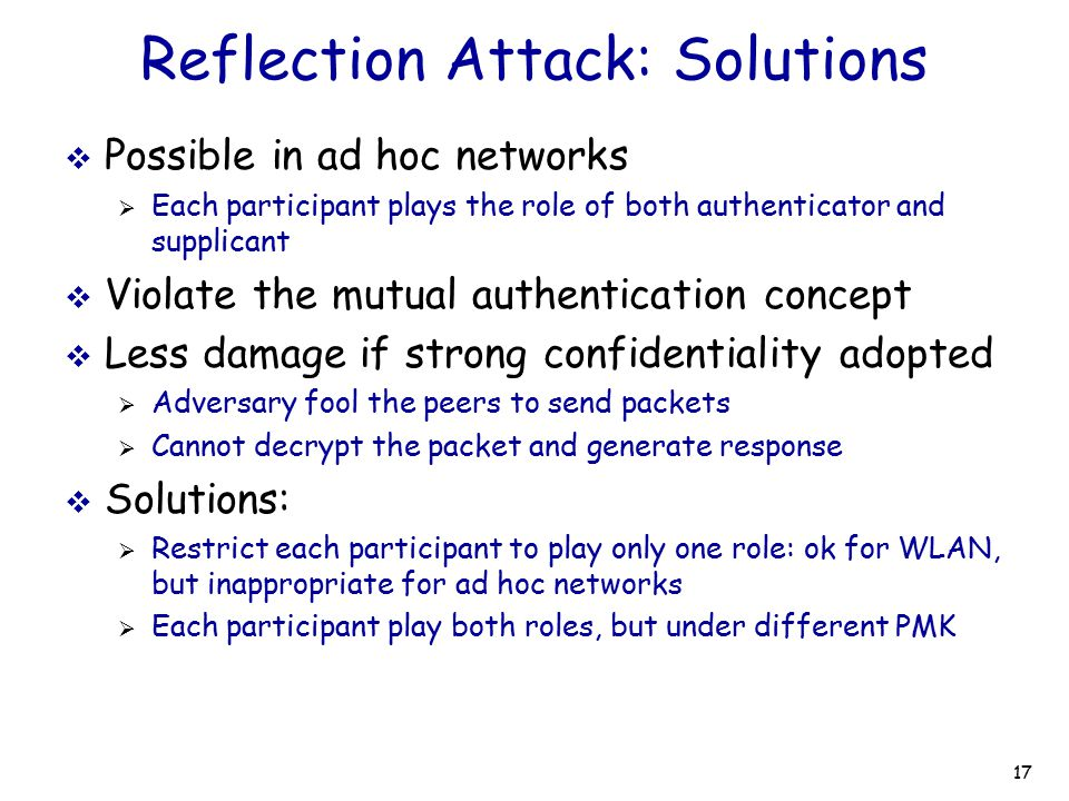 Reflection Attack: Solutions