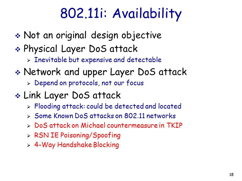 802.11i: Availability Not an original design objective