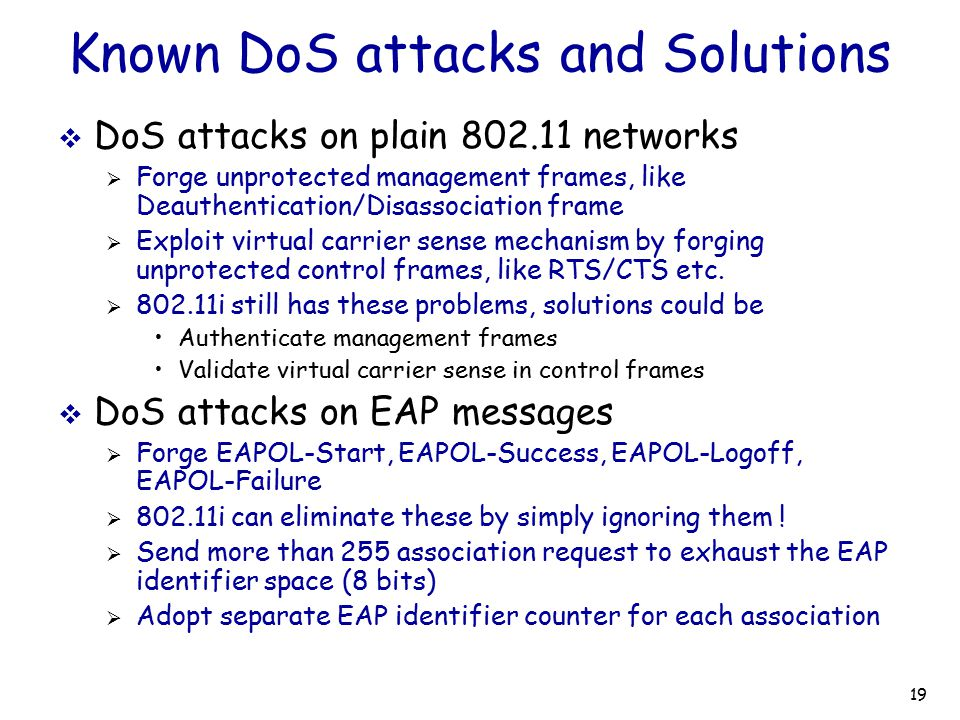 Known DoS attacks and Solutions