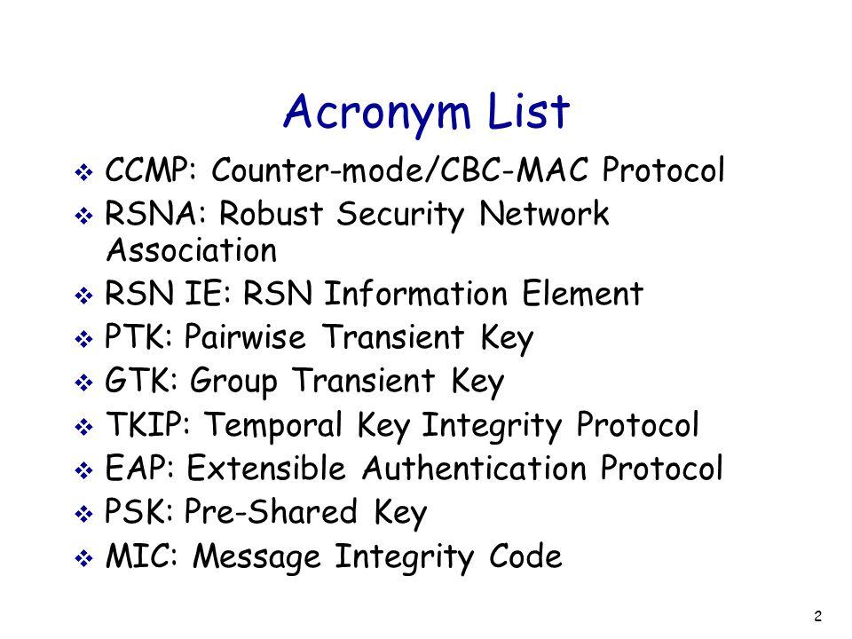 Acronym List CCMP: Counter-mode/CBC-MAC Protocol