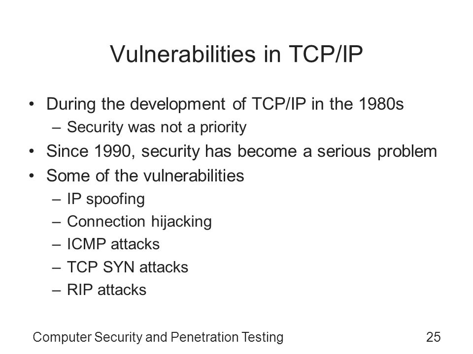 Vulnerabilities in TCP/IP