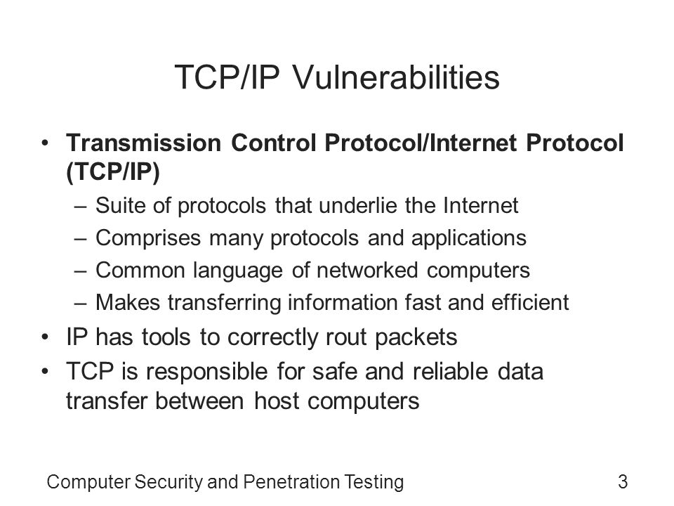 TCP/IP Vulnerabilities