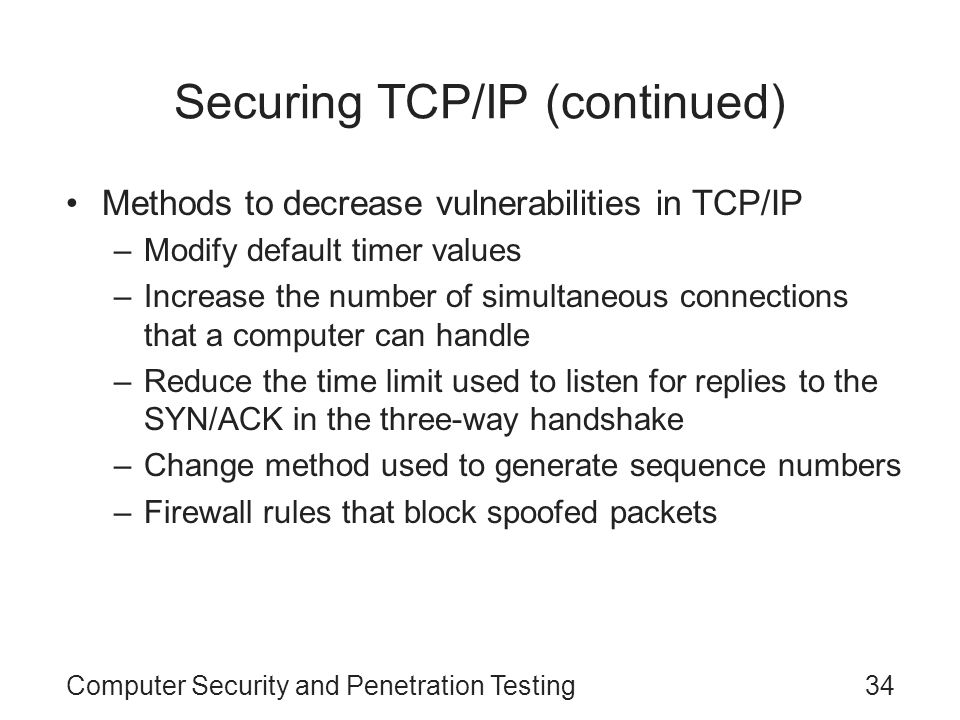 Securing TCP/IP (continued)