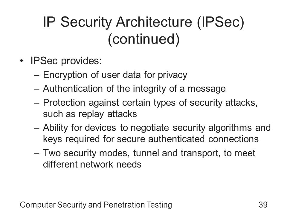 IP Security Architecture (IPSec) (continued)