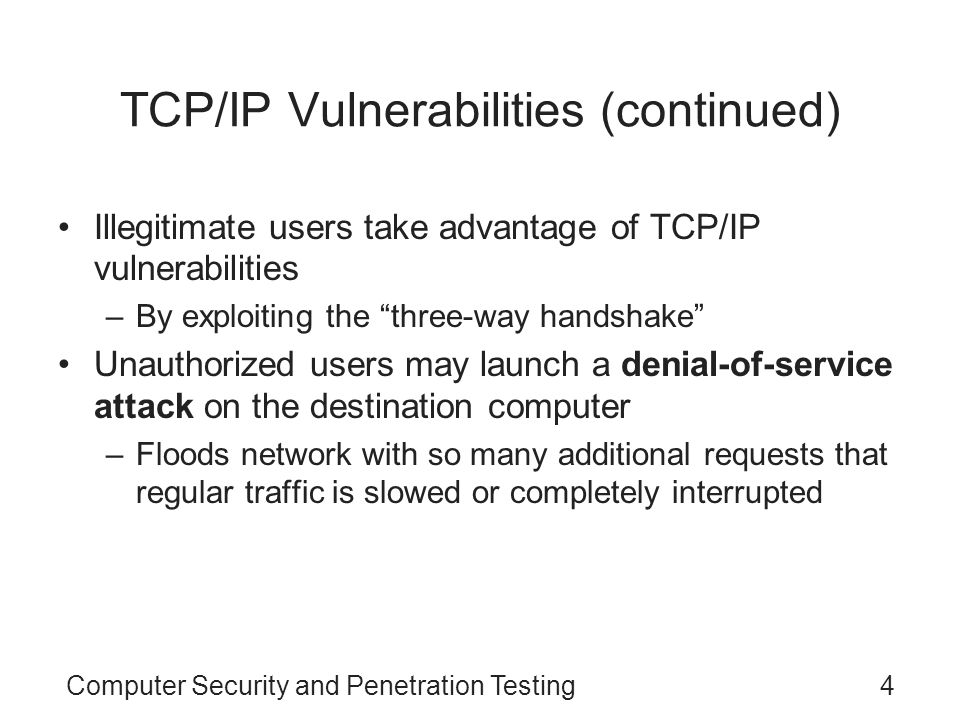 TCP/IP Vulnerabilities (continued)