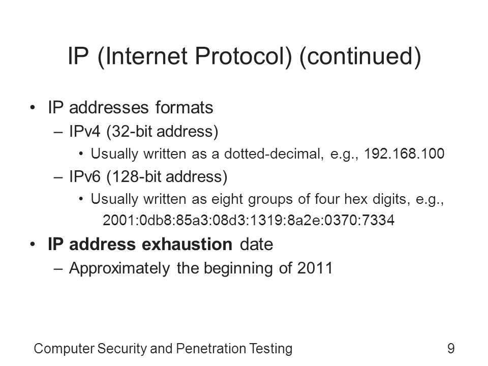 IP (Internet Protocol) (continued)