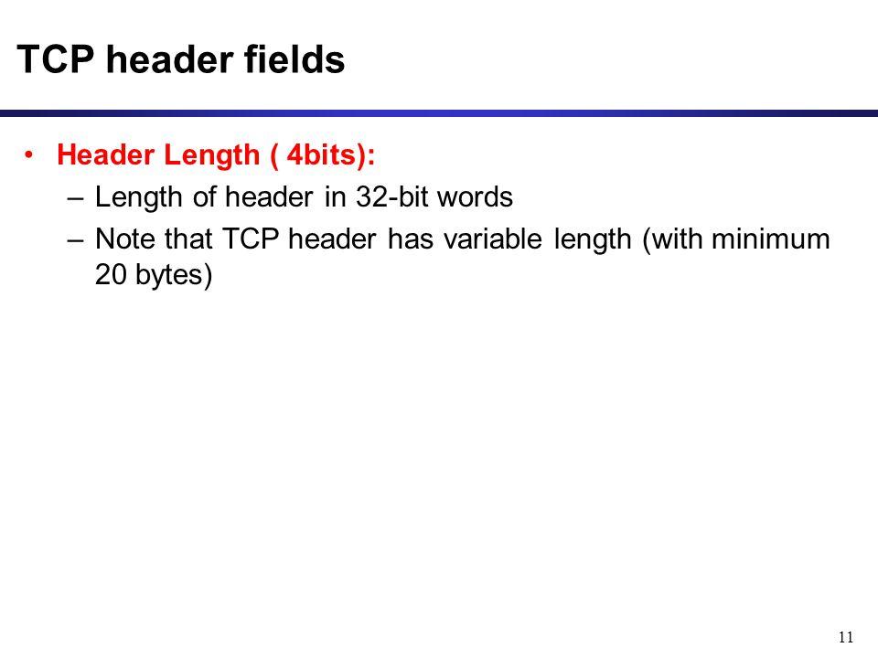 TCP header fields Header Length ( 4bits):