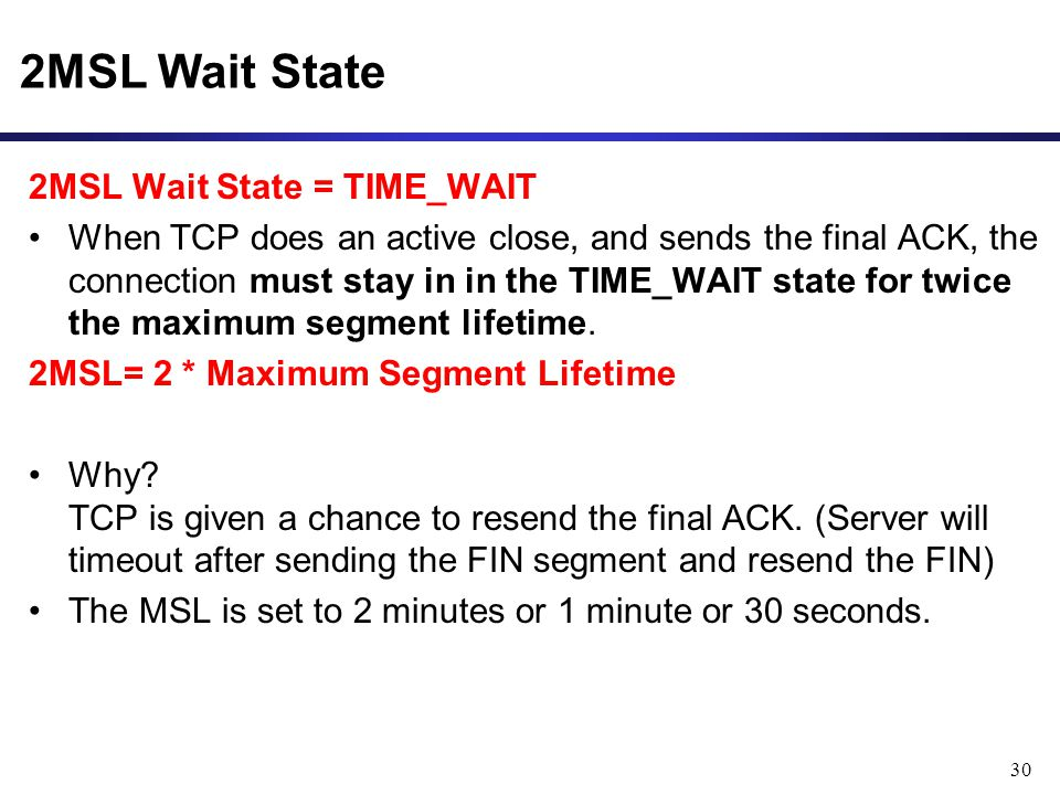 2MSL Wait State 2MSL Wait State = TIME_WAIT