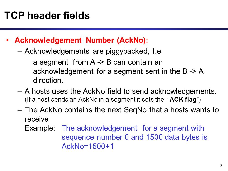 TCP header fields Acknowledgement Number (AckNo):