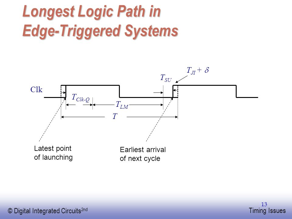Longest Logic Path in Edge-Triggered Systems