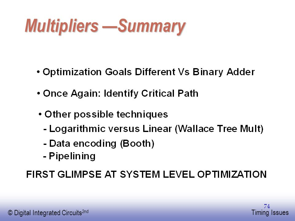 Multipliers —Summary