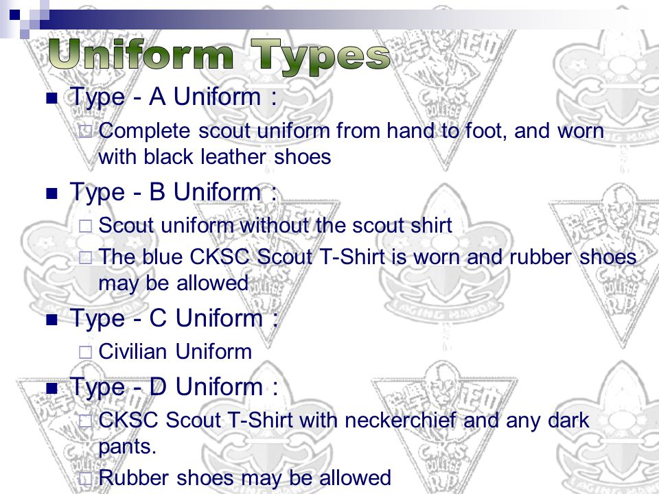 Uniform Types Type - A Uniform : Type - B Uniform : Type - C Uniform :
