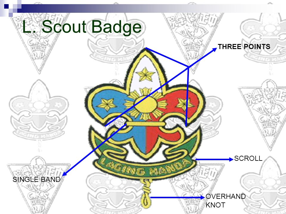 L. Scout Badge THREE POINTS SCROLL SINGLE BAND OVERHAND KNOT