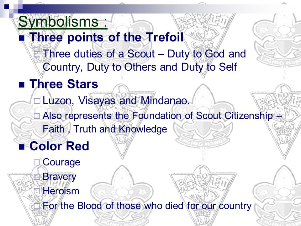 Symbolisms : Three points of the Trefoil Three Stars Color Red