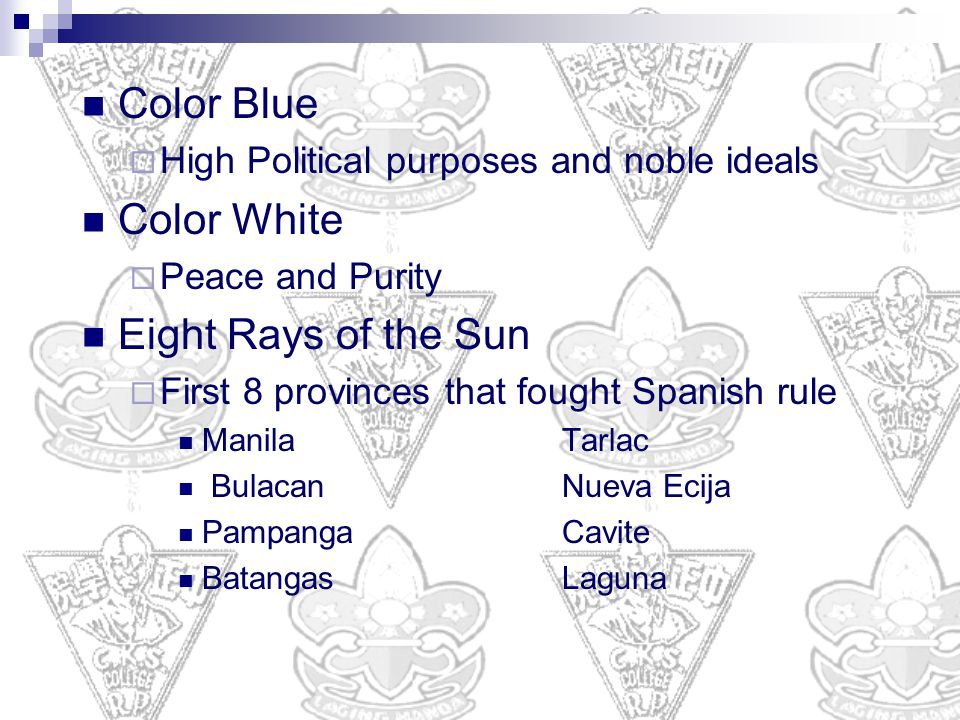 Color Blue Color White Eight Rays of the Sun