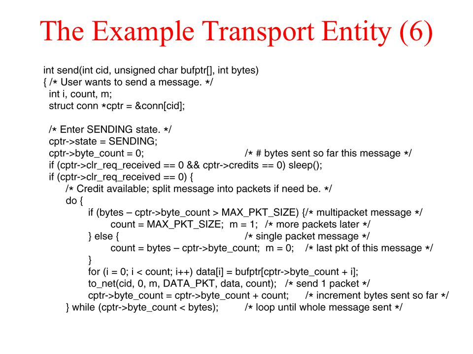 The Example Transport Entity (6)