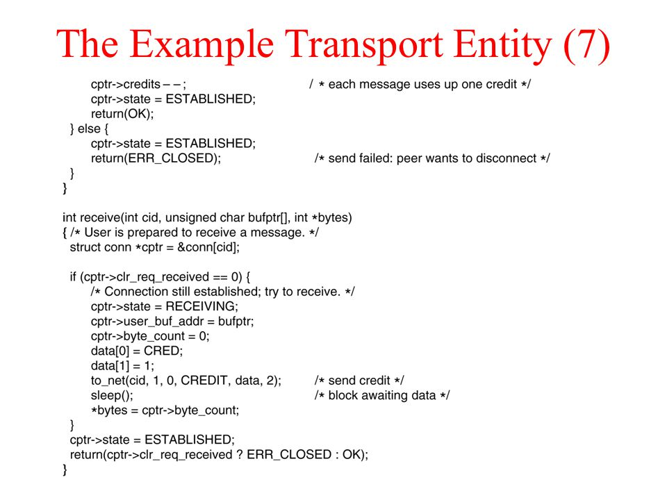 The Example Transport Entity (7)