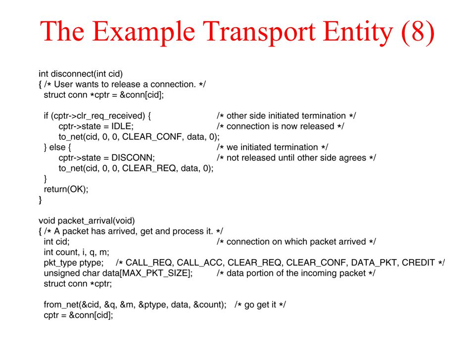 The Example Transport Entity (8)