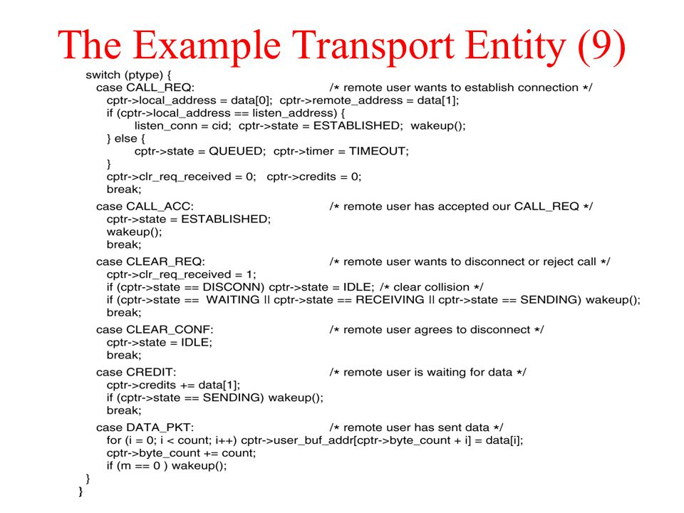 The Example Transport Entity (9)
