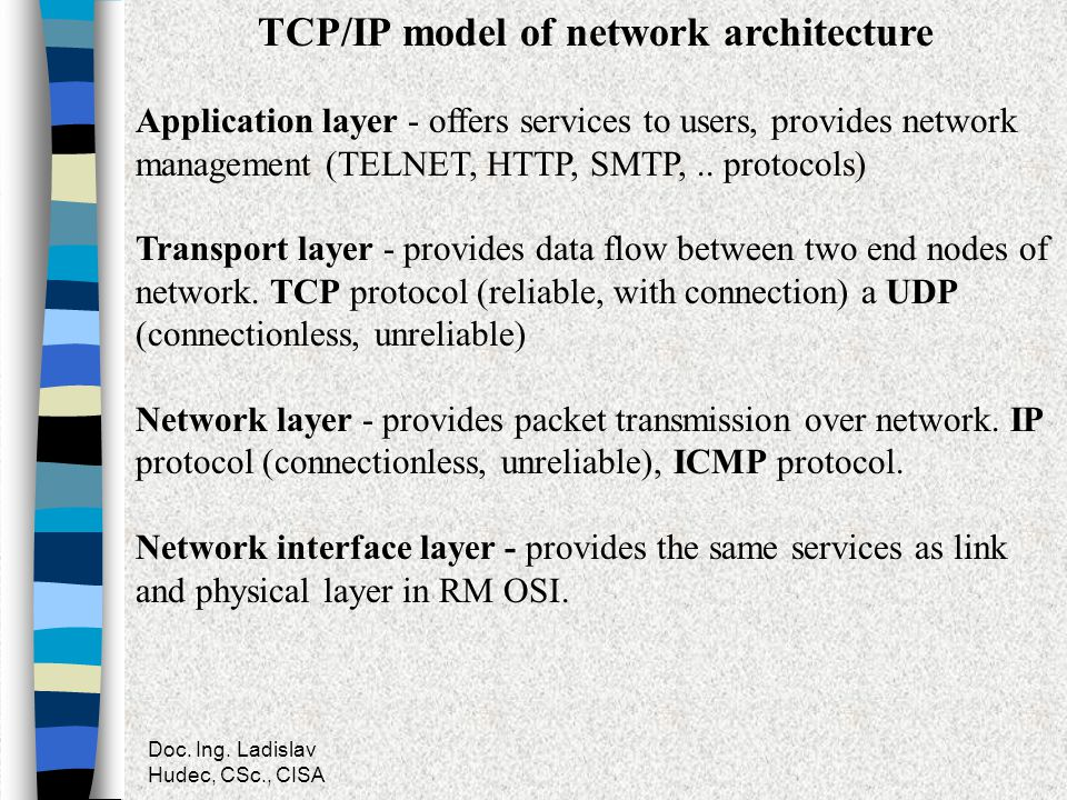 TCP/IP model of network architecture