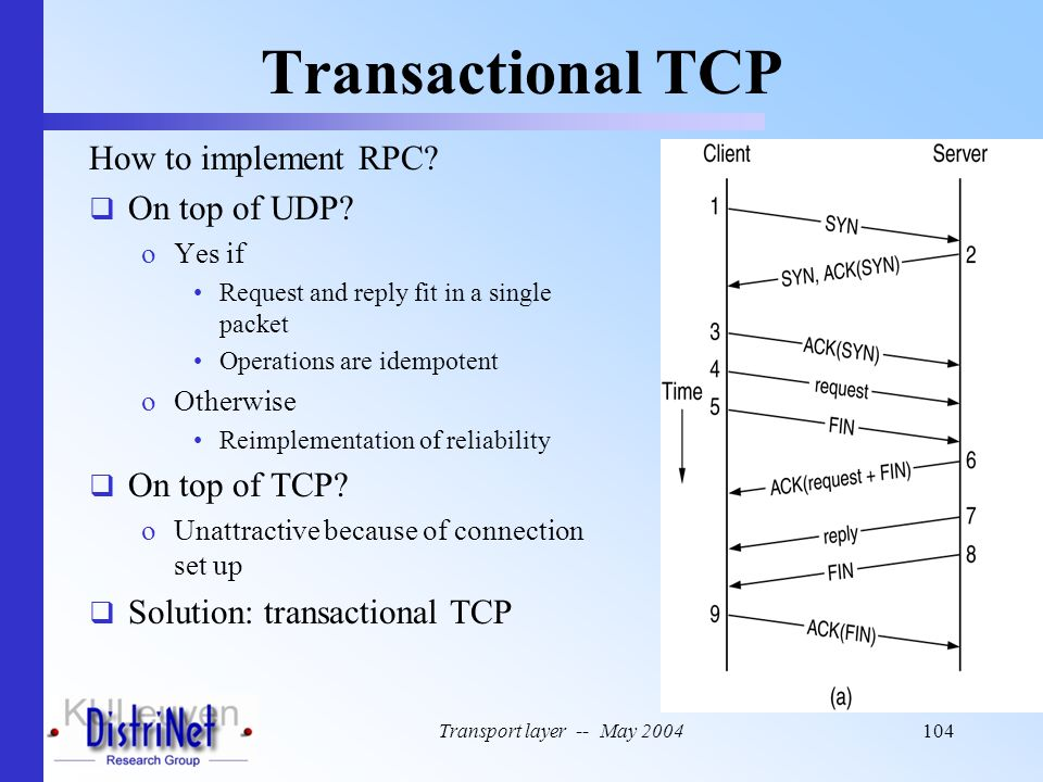 Transactional TCP How to implement RPC On top of UDP On top of TCP