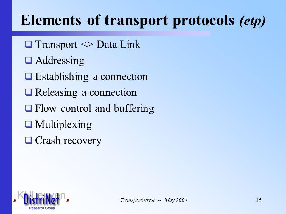 Elements of transport protocols (etp)