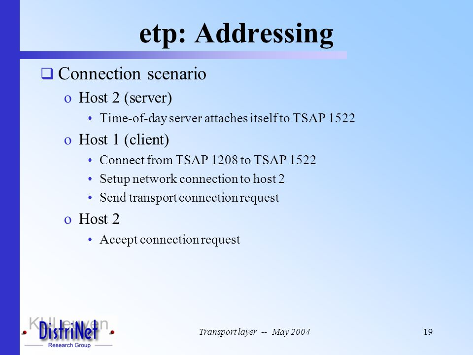 etp: Addressing Connection scenario Host 2 (server) Host 1 (client)