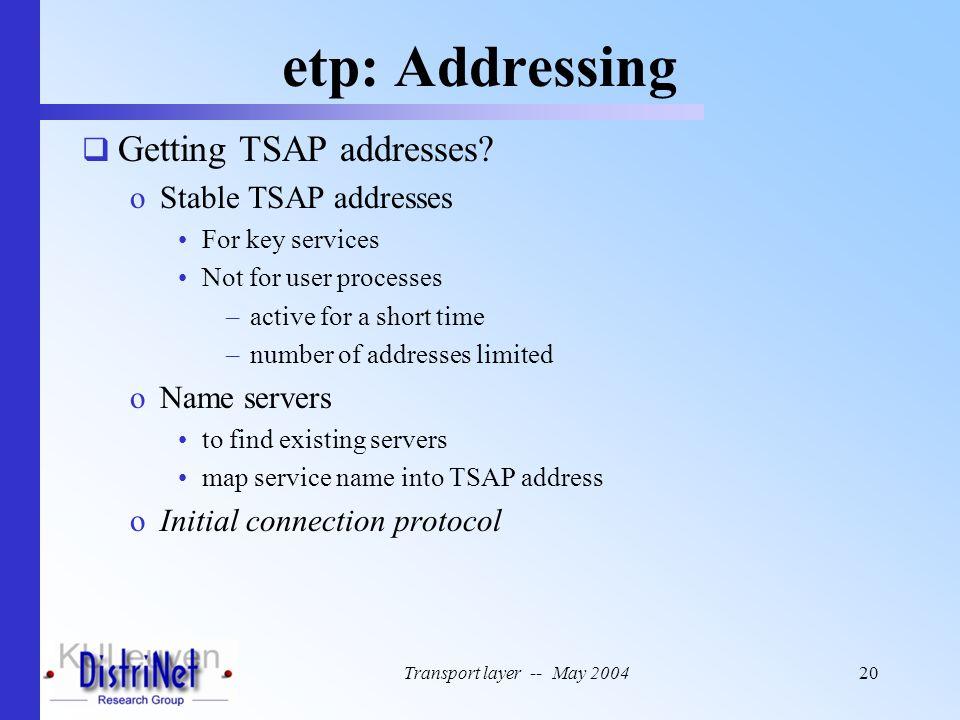 etp: Addressing Getting TSAP addresses Stable TSAP addresses