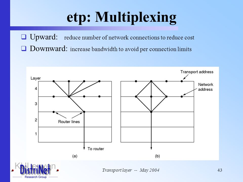 etp: Multiplexing Upward: reduce number of network connections to reduce cost. Downward: increase bandwidth to avoid per connection limits.