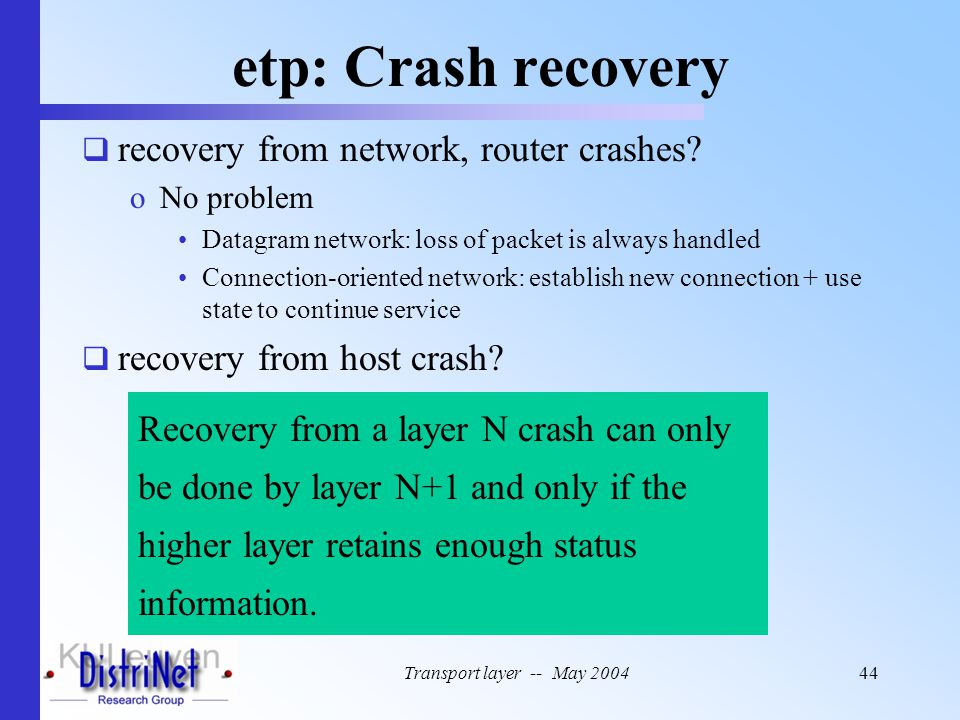 etp: Crash recovery recovery from network, router crashes