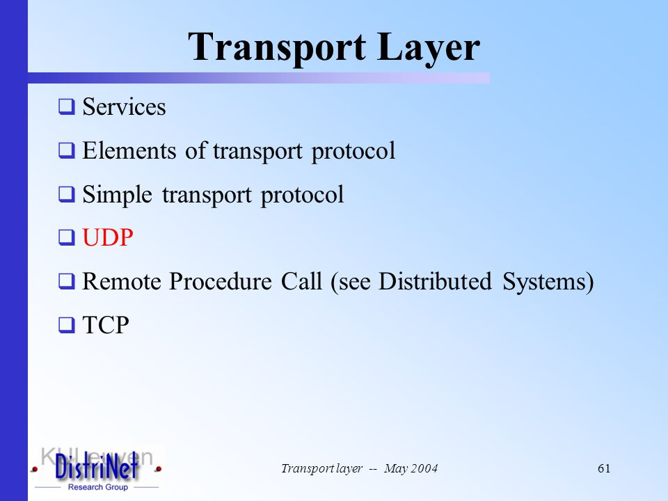 Transport Layer Services Elements of transport protocol