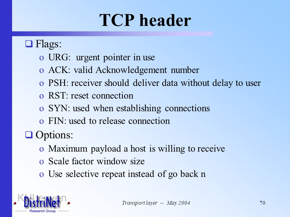 TCP header Flags: Options: URG: urgent pointer in use