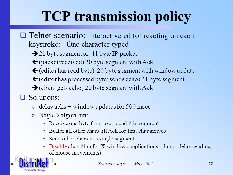 TCP transmission policy
