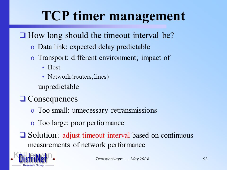 TCP timer management How long should the timeout interval be