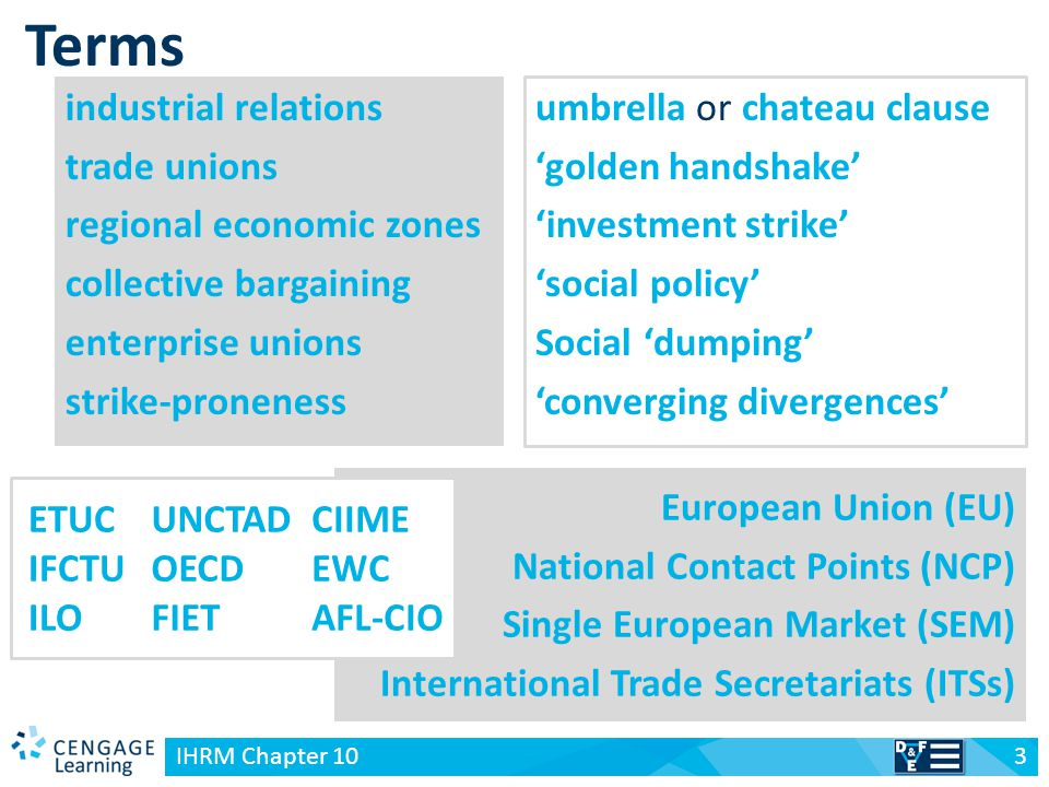 Terms industrial relations trade unions regional economic zones