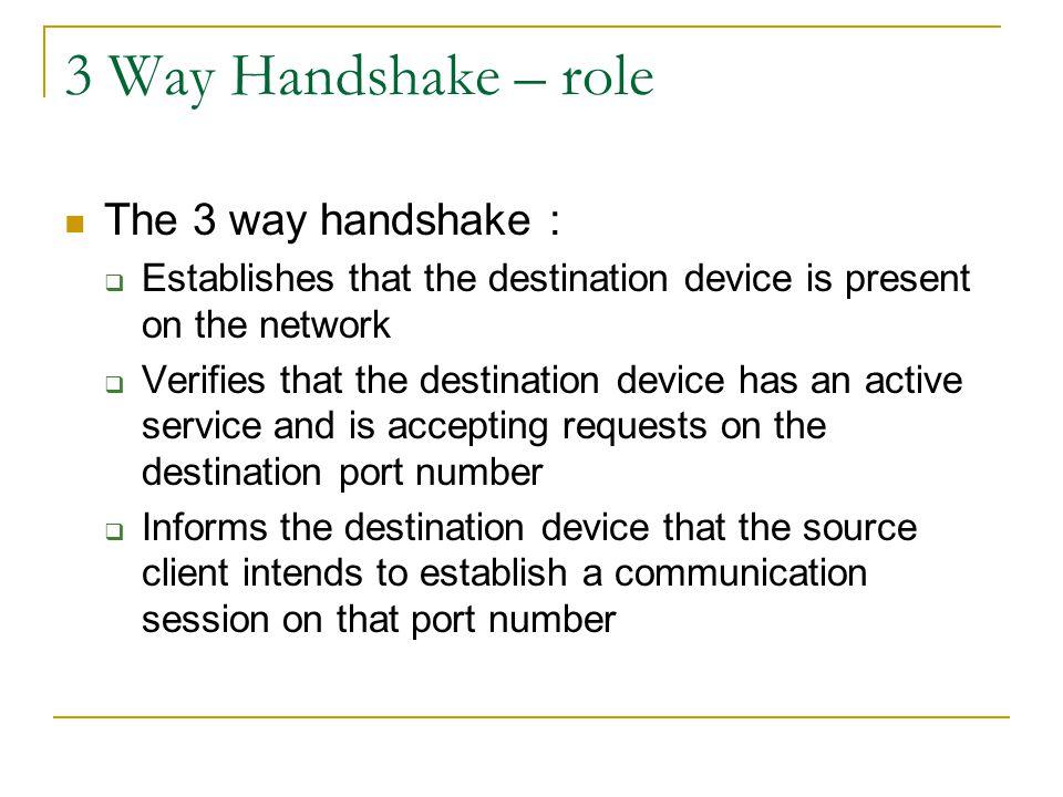 3 Way Handshake – role The 3 way handshake :