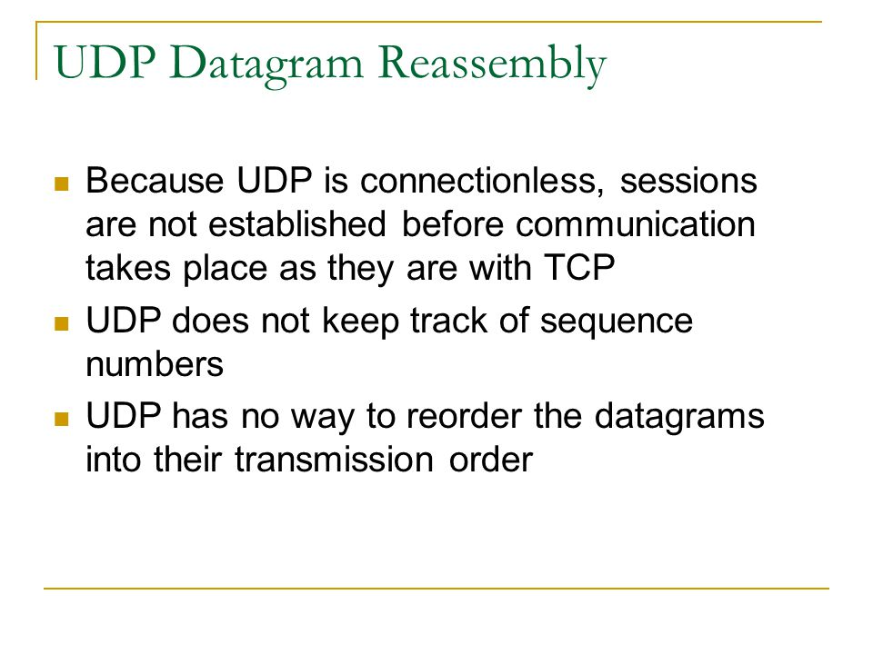 UDP Datagram Reassembly