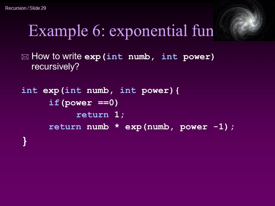 Example 6: exponential func