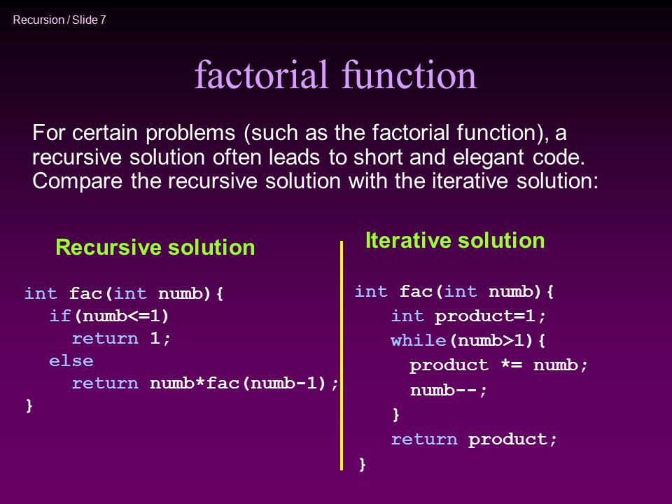 factorial function