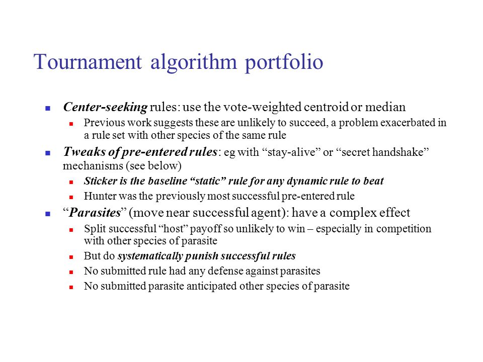 Tournament algorithm portfolio