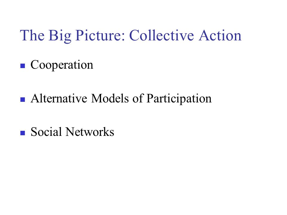 The Big Picture: Collective Action