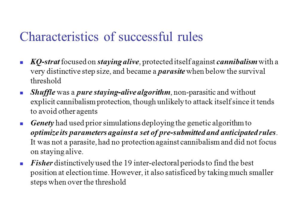 Characteristics of successful rules