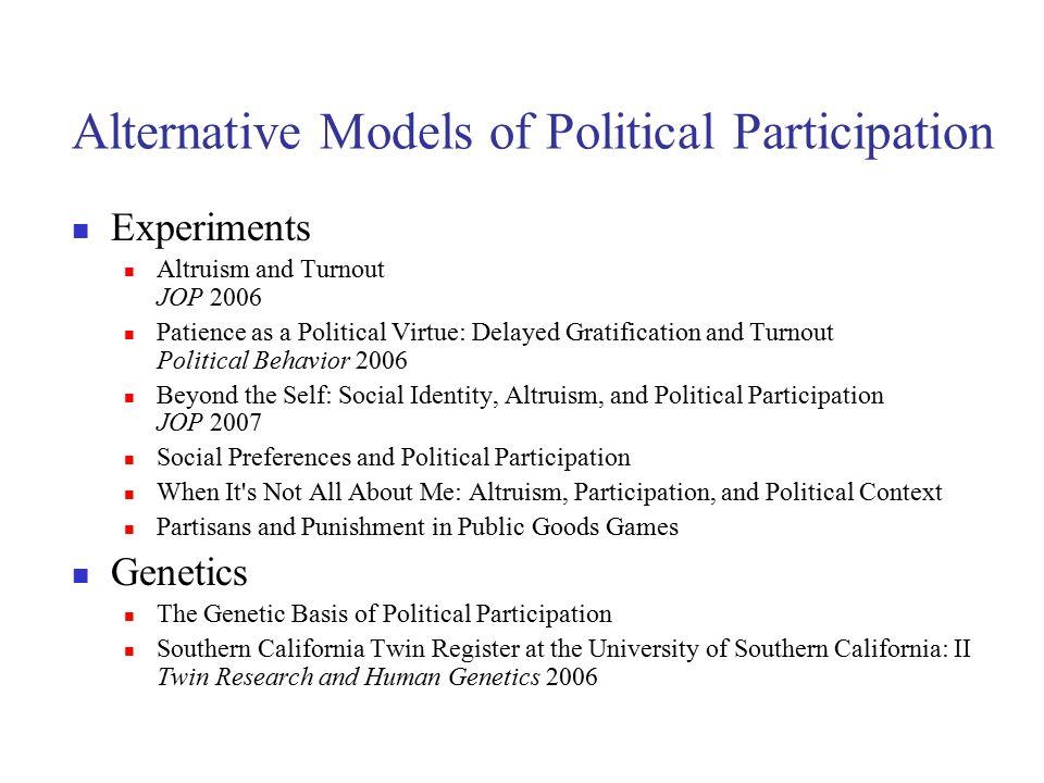 Alternative Models of Political Participation