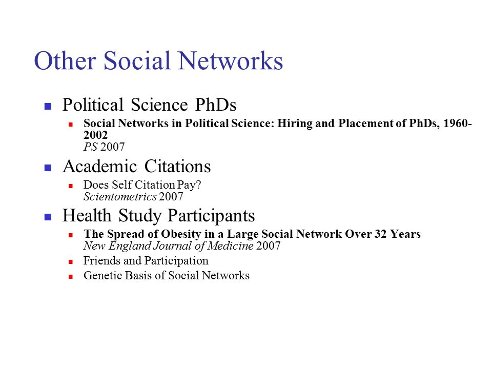 Other Social Networks Political Science PhDs Academic Citations