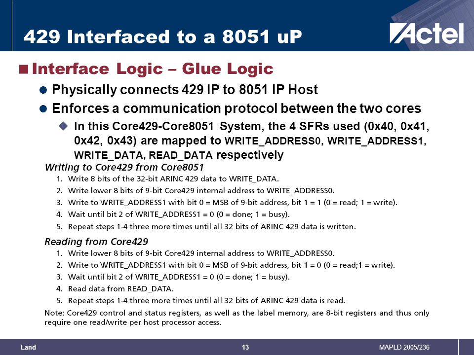 429 Interfaced to a 8051 uP Interface Logic – Glue Logic