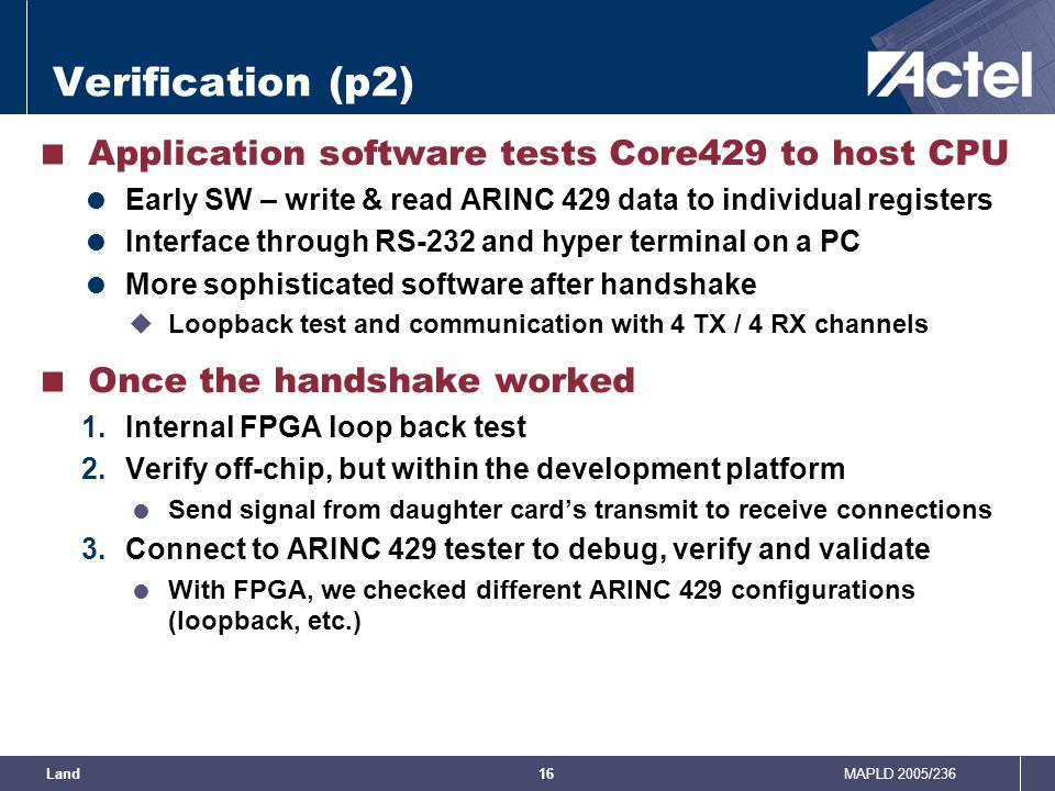 Verification (p2) Application software tests Core429 to host CPU