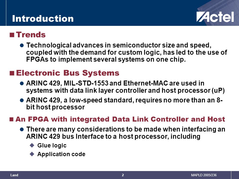 Introduction Trends Electronic Bus Systems