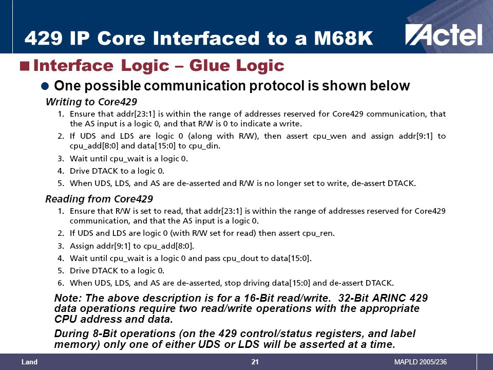 429 IP Core Interfaced to a M68K