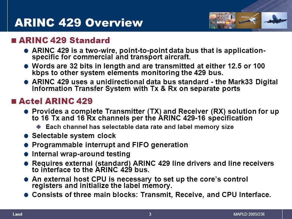 ARINC 429 Overview ARINC 429 Standard Actel ARINC 429