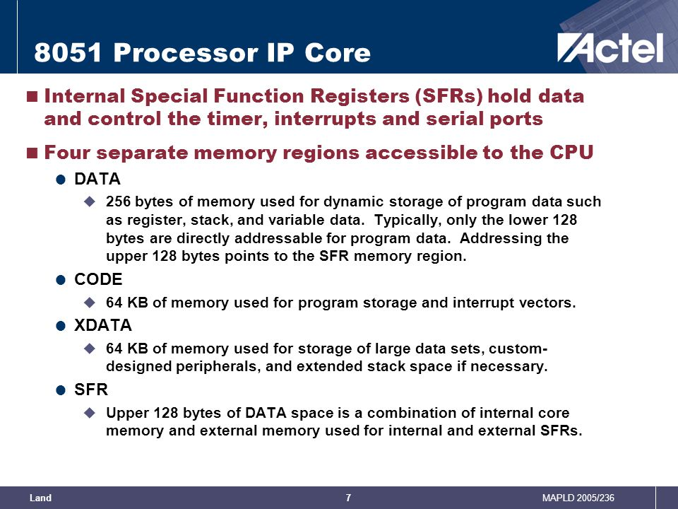 8051 Processor IP Core Internal Special Function Registers (SFRs) hold data and control the timer, interrupts and serial ports.